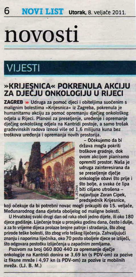Novi list: Humanitarna akcija 2011.
